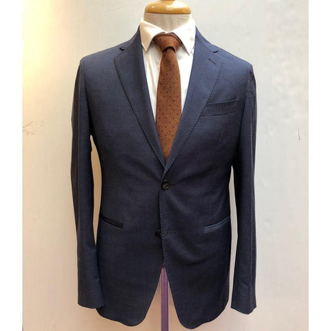 Wool Stretch Windowpane Suit Blue