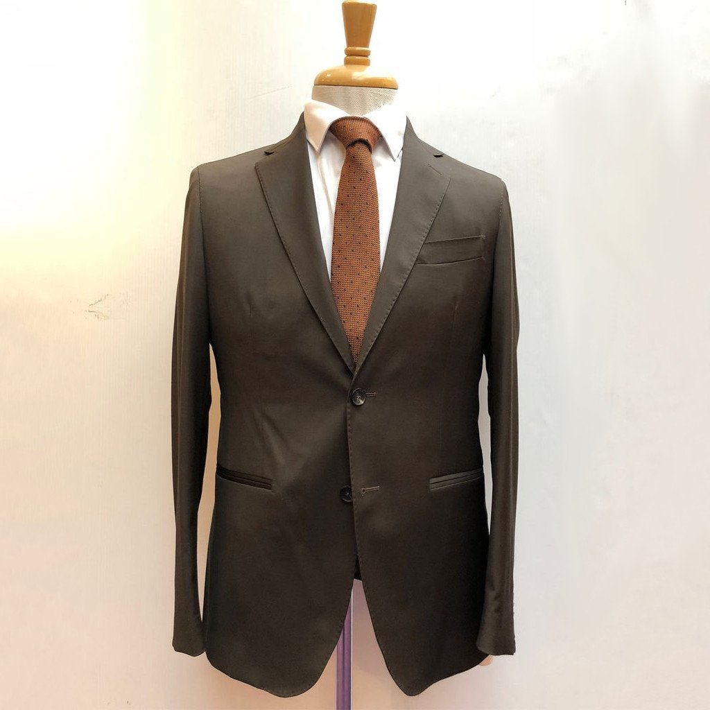 0909 MT - Suits Textured Solid Wool Suit Brown - Gotstyle The Menswear Store