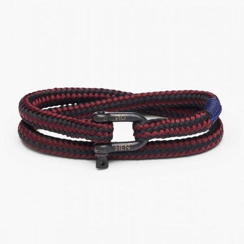Pig & Hen MA - Jewellery - General Salty Steve Wrap Rope Bracelet with Shackle - Bordeaux - Gotstyle The Menswear Store