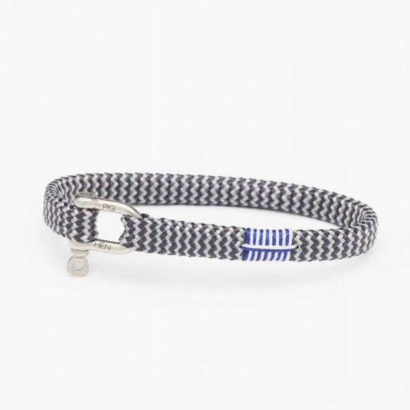 Pig & Hen MA - Jewellery - General Vicious Vik Flat Braid Bracelet with Shackle - Slate Grey - Gotstyle The Menswear Store