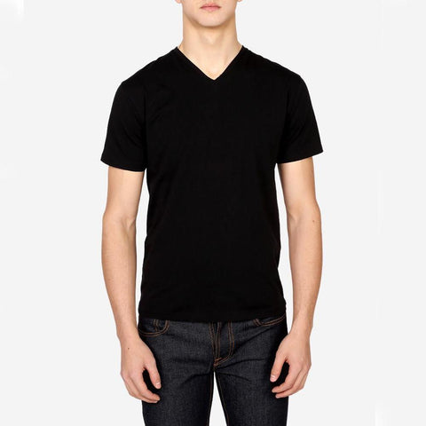 Pima Cotton Stretch V-Neck Tee Black - Gotstyle The Menswear Store