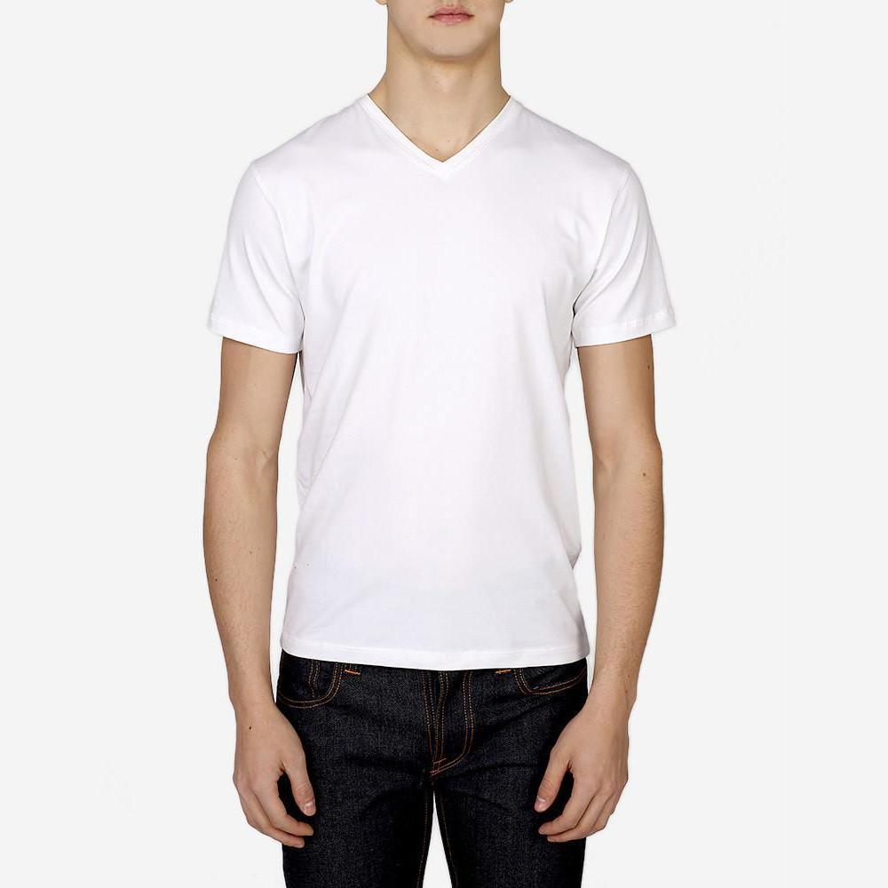 Patrick Assaraf MS - Casual Tops - Tshirts Pima Cotton Stretch V-Neck Tee White - Gotstyle The Menswear Store
