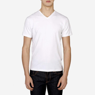Patrick Assaraf T-Shirts Pima Cotton Stretch V-Neck Tee White - Gotstyle The Menswear Store