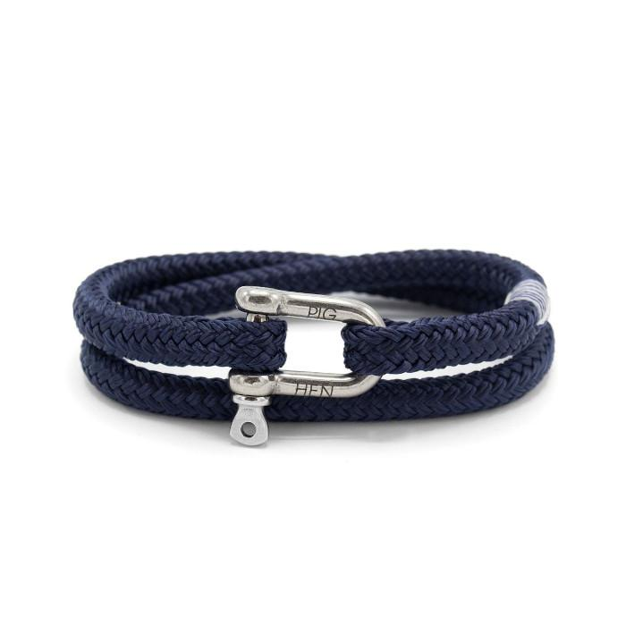 Pig & Hen MA - Jewellery - General Salty Steve Wrap Rope Bracelet with Shackle - Navy - Gotstyle The Menswear Store