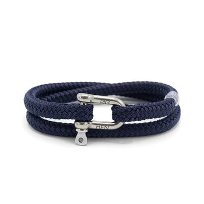 Pig & Hen Jewellery Salty Steve Wrap Rope Bracelet with Shackle - Navy - Gotstyle The Menswear Store