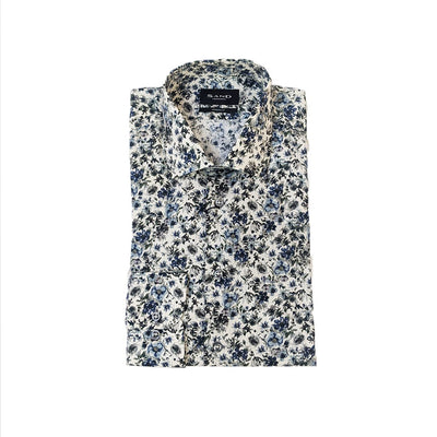 Gotstyle - Sand Copenhagen Collar Shirts Brush-Like Floral Print Shirt