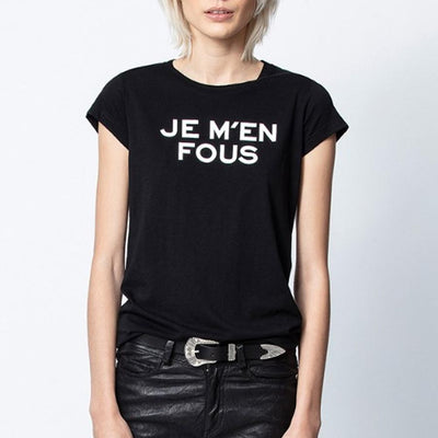 "Zadig & Voltaire T-Shirts ""Je M'en Fous"" Skinny Tee - Gotstyle The Menswear Store"