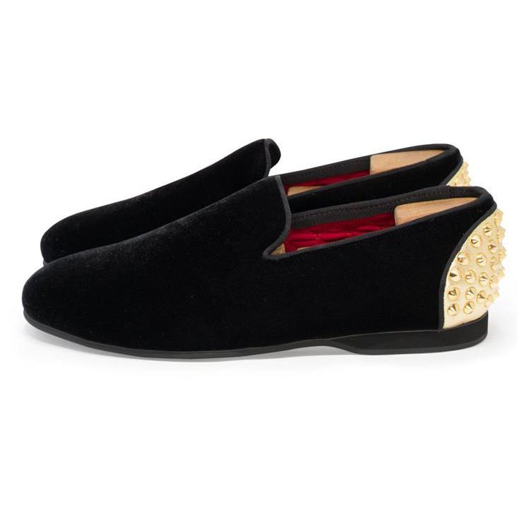 Amor Elise MF - Dress Shoes Daniel Formal Velvet Slip-Ons w Heel Cap Metal Spikes - Gotstyle The Menswear Store