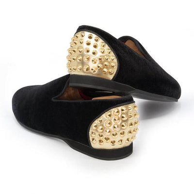 Amor Elise Shoes Daniel Formal Velvet Slip-Ons w Heel Cap Metal Spikes - Gotstyle The Menswear Store