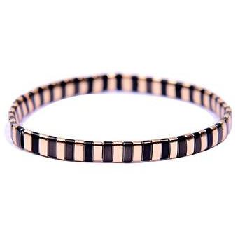 Gotstyle - Gotstyle Jewellery Stackable Plated Tile Stretchy Bracelet - Gold/Black