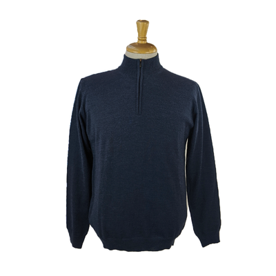 Merino Zip Mock Sweater - Blue - Gotstyle The Menswear Store