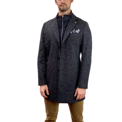 Gotstyle - Blue Industry Coats Melange Weave Topcoat with Removable Inlay