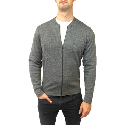 Horst Sweaters Zip Up Baseball Collar Italian Cardigan - Charcoal - Gotstyle The Menswear Store
