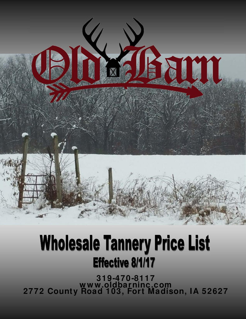 Old Barn Tannery Price List Cover Page - Located in Fort Madison, Iowa