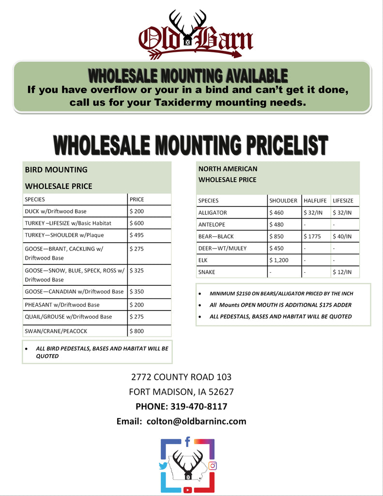 Old Barn Taxidermy - Wholesale Mounting Price List
