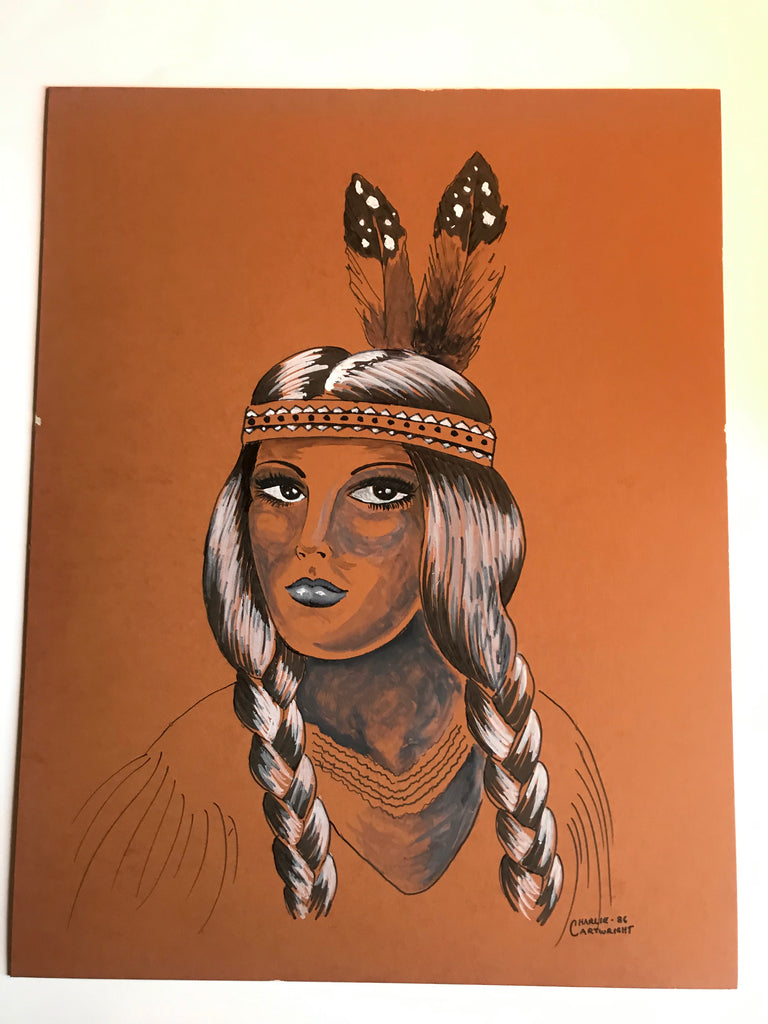 Indian Girl, with Braids (2) 1986 GTC Original