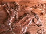 Wooden Relief of Indian, Horse and Buffalo