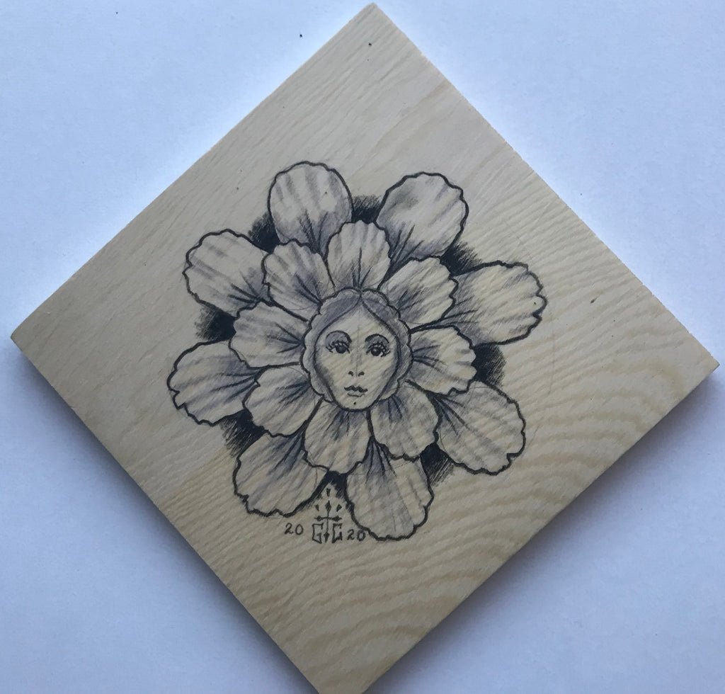 Drawing on Wood Flower Girl, #5 One of a Kind