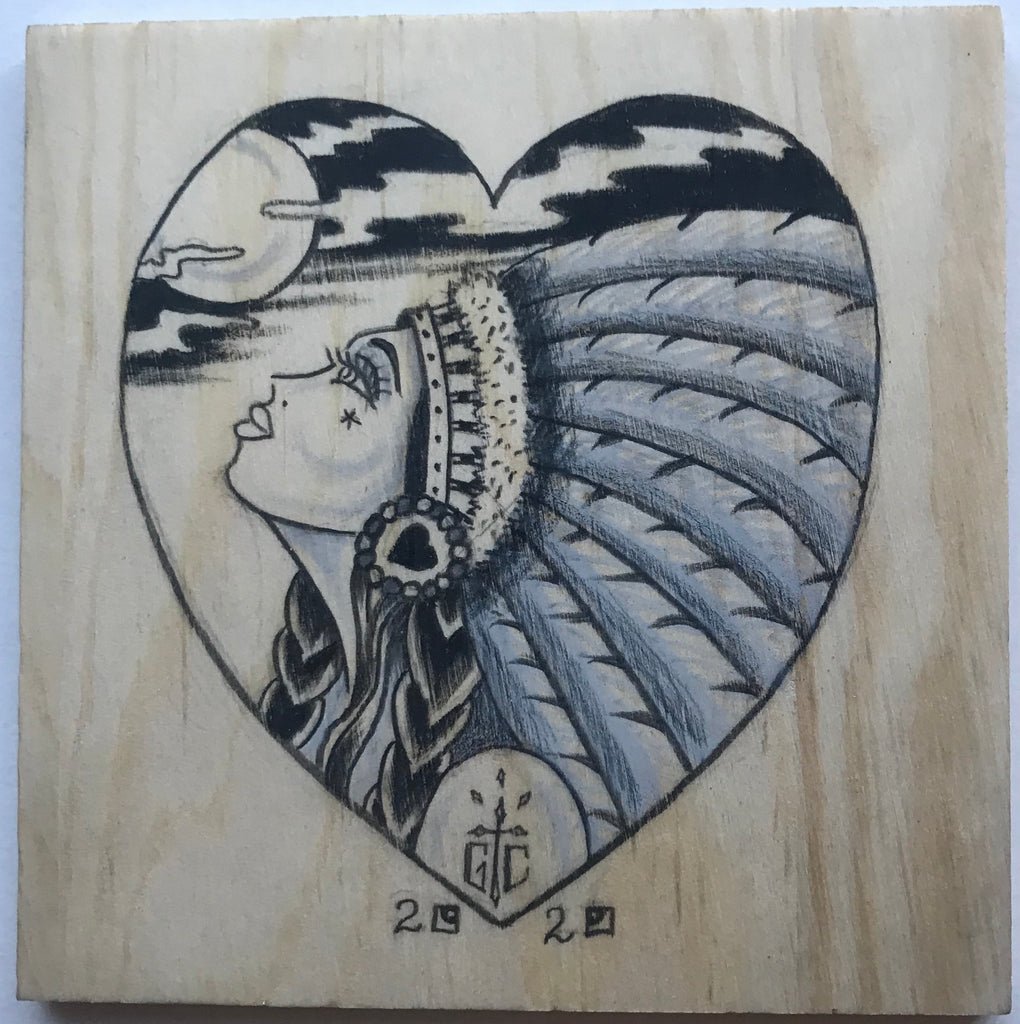 Drawing on Wood Heart and Indian Maiden, #4 One of a Kind