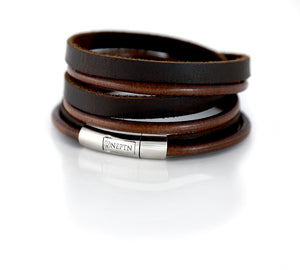Black Leather bracelet triple wrapped with steel clasp