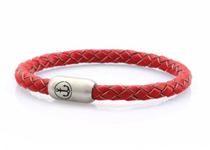 red leather bracelet for men with stainless steel clasp with anchor engraving