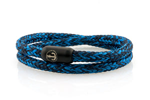 Double navy and royal blue rope bracelet for men with black stainless steel clasp with anchor engraving | NEPTN