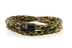 Double beige and dark green rope bracelet for men with black stainless steel clasp with anchor engraving | NEPTN
