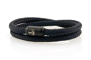 Double black and navy rope bracelet for men with black stainless steel clasp with anchor engraving