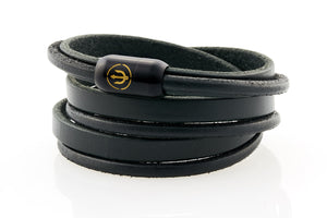 Captn by Neptn - Black Leather bracelet triple wrapped with black magnetic clasp and gold trident engraving
