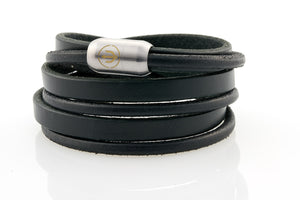 Captn by Neptn - Black Leather bracelet triple wrapped with steel magnetic clasp and gold trident engraving