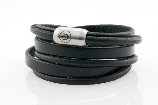 Maritime design bracelets for men by NEPTN. Nautical style bracelets with trident engraving. Click or magnetic closure
