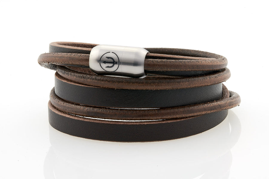 Captn by Neptn - Black Leather bracelet triple wrapped with steel magnetic clasp and trident engraving