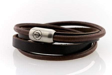 Captn by Neptn - Brown Leather bracelet double wrapped with steel magnetic clasp and trident engraving