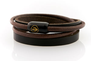 Brown Leather bracelet double wrapped with black magnetic clasp and gold trident engraving