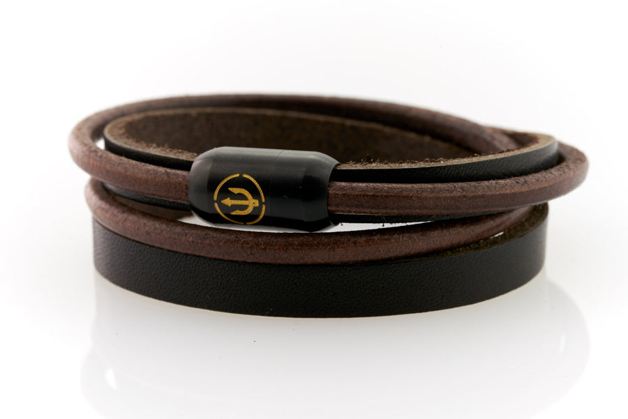 Black Leather bracelet double wrapped with black magnetic clasp and gold trident engraving