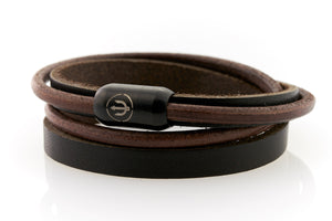 Brown Leather bracelet double wrapped with magnetic clasp and trident engraving