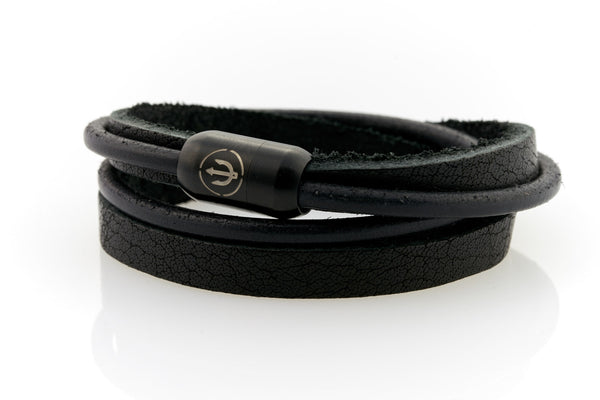 Black Leather bracelet double wrapped with magnetic clasp and trident engraving