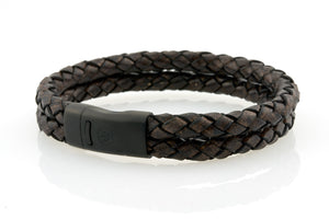 Maritime design. Mens leather bracelets by NEPTN. Black magnetic clasp with trident engraving