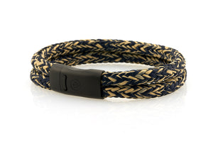Maritime design. Mens rope bracelets by NEPTN. Black magnetic clasp with trident engraving