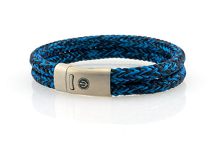 Maritime design. Mens nautical rope bracelets by NEPTN. Steel magnetic clasp with trident engraving