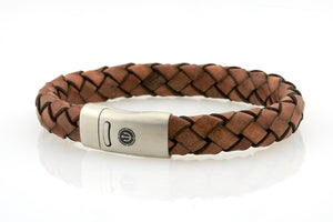 Maritime design. Mens nautical leather bracelets by NEPTN. Steel magnetic clasp with trident engraving