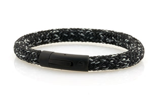 neptn men's bracelet sailor anchor black salt & pepper rope. nautical bracelet. maritime design.