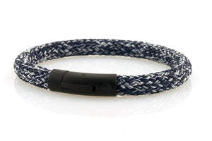 neptn men's bracelet sailor anchor black denim blue rope. nautical bracelet. maritime design.