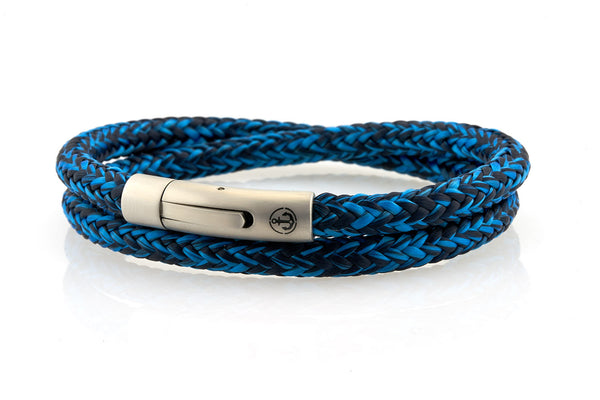 neptn men's bracelet sailor double anchor steel ocean navy rope. nautical bracelet. maritime design.