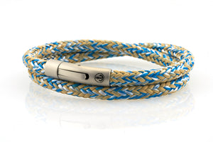 neptn men's bracelet sailor double anchor steel ocean white sand rope. nautical bracelet. maritime design.