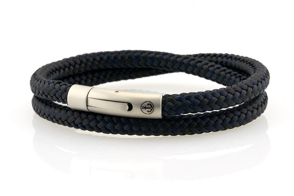 neptn men's bracelet sailor double anchor steel black navy rope. nautical bracelet. maritime design.