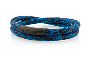 neptn men's bracelet sailor trident black ocean navy rope 6mm double