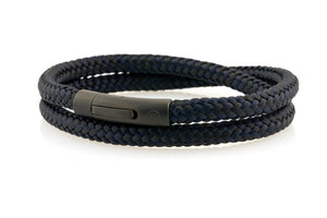 neptn men's bracelet sailor trident black black navy rope 6mm double