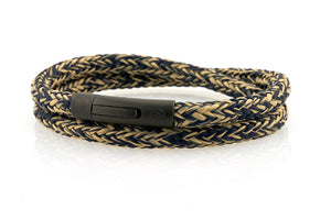 neptn men's bracelet sailor trident black navy sand rope 6mm double