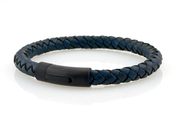 neptn men's bracelet sailor trident black denim blue leather 8mm